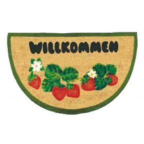"Kokosvelour-Matte mit Druckmotiv ""Erdbeere - Willkommen"""