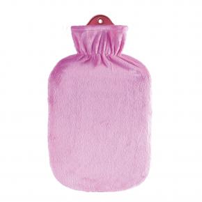 2,0 Liter Wärmflasche mit klassischem Flauschbezug, rosé