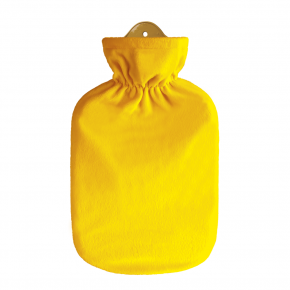 2,0 Liter Wärmflasche mit klassischem Flauschbezug, gelb