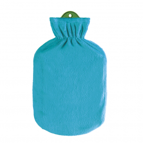 2,0 Liter Wärmflasche mit klassischem Flauschbezug, petrol-grün