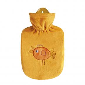 """0,8 Liter Wärmflasche mit Velourbezug """"Birdy"""", orange"""
