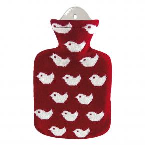 """0,8 Liter Wärmflasche mit Bezug """"Baby Birds, Rot"""""""