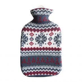 """2,0 Liter Wärmflasche mit Strickbezug aus Baumwolle """"Flocke"""""""
