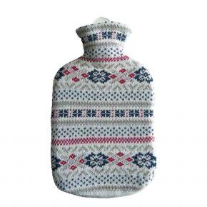 """2,0 Liter Wärmflasche mit Strickbezug aus Baumwolle """"Fjord"""""""