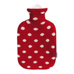 """2,0 Liter Wärmflasche mit Strickbezug aus Baumwolle """"Feuerrot"""""""