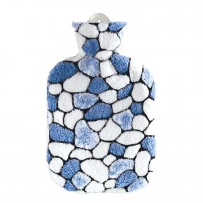 2,0 Liter Wärmflasche mit Plüschbezug, Kieselsteine weiß/blau