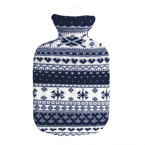 """2,0 Liter Wärmflasche mit Strickbezug aus Baumwolle """"Norweger"""""""