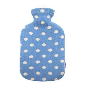 """2,0 Liter Wärmflasche mit Strickbezug aus Baumwolle """"Himmelblau"""""""