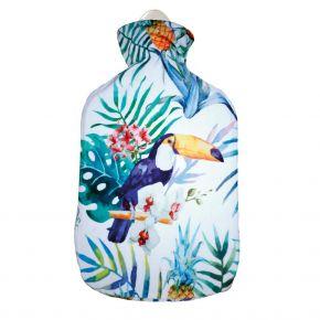 2,0 Liter Wärmflasche mit Velour-Bezug Dschungeldesign, Tukan