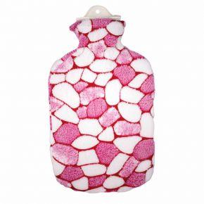 2,0 Liter Wärmflasche mit Plüschbezug, Mosaik weiß/pink