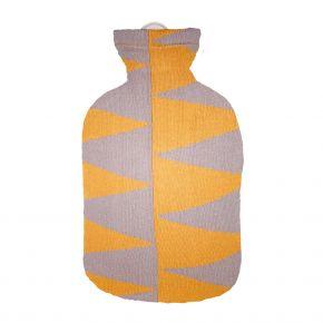 """2,0 Liter Wärmflasche mit Strickbezug aus Baumwolle """"Pyramiden"""""""