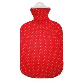 """2,0 Liter Wärmflasche mit Strickbezug aus Baumwolle """"Rote Königin"""""""
