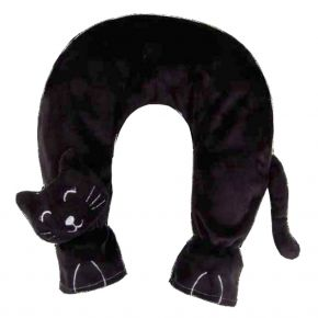 Nackenwärmflasche mit Katzenbezug, schwarz