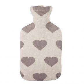 """2,0 Liter Wärmflasche mit Strickbezug aus Baumwolle """"Herz As"""""""