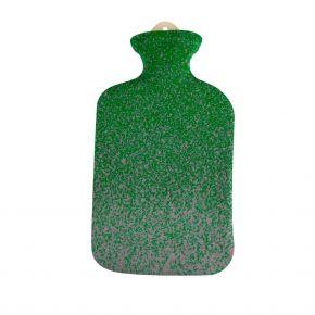"""2,0 Liter Wärmflasche mit Strickbezug aus Baumwolle """"Pixel Grün"""""""