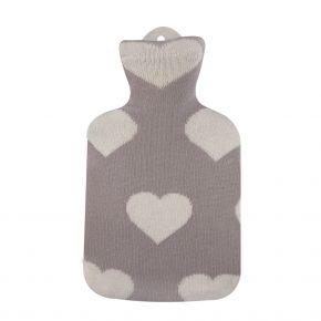 """0,8 Liter Wärmflasche mit Strickbezug aus Baumwolle """"Herz für Kleine"""""""