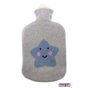 """2,0 Liter Wärmflasche mit Strickbezug aus Baumwolle """"Stern grau/blau"""""""