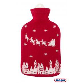"""2,0 Liter Wärmflasche mit Strickbezug aus Baumwolle """"Weihnachtsmann"""""""