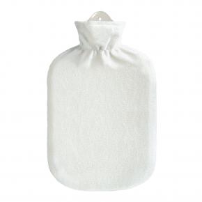 2,0 Liter Wärmflasche mit Fleecebezug, weiß