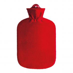 2,0 Liter Wärmflasche mit Fleecebezug, rot