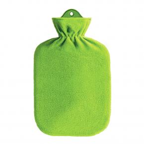 2,0 Liter Wärmflasche mit Fleecebezug, grün