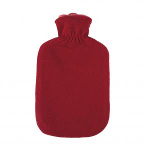 "2,0 Liter Wärmflasche mit Fleecebezug ""Kunterbunt"", Rubinrot"