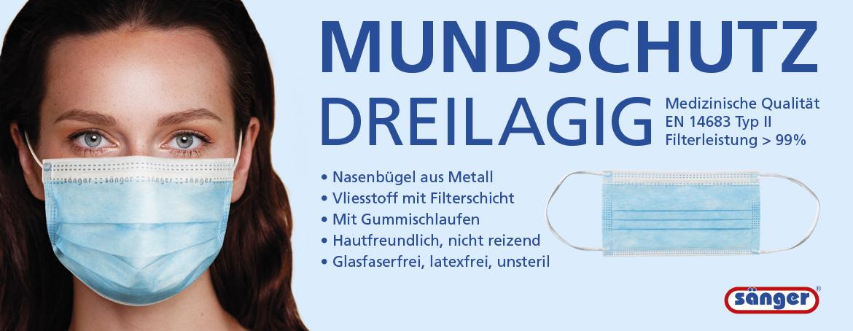 Mundschutz, Mund-Nasen-Schutz, Atemschutz, Medizinische Qualität, EN 14683 Typ II, EN 14683 Typ 2, 3-lagig, dreilagig