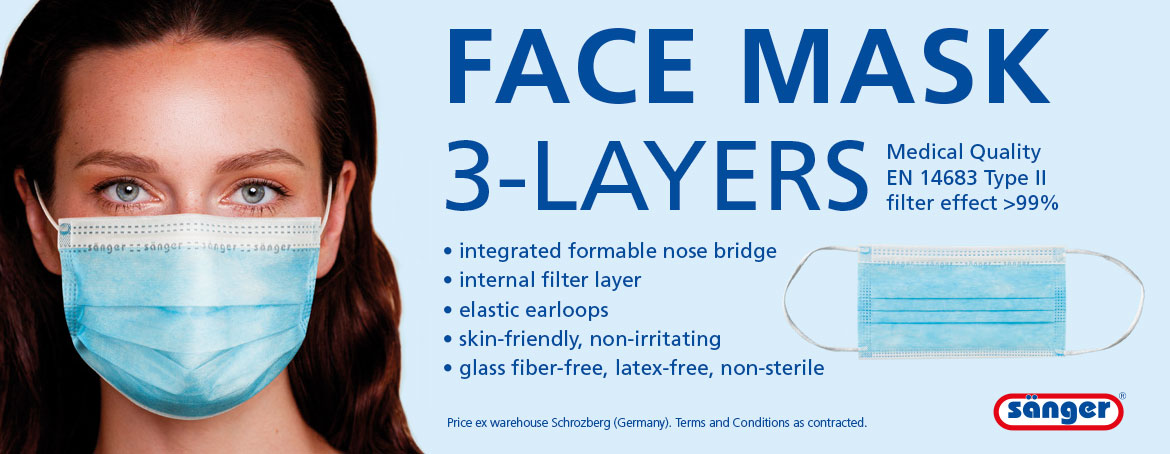 disposable face mask, 3-layer , > 99%, EN 14683 Typ II